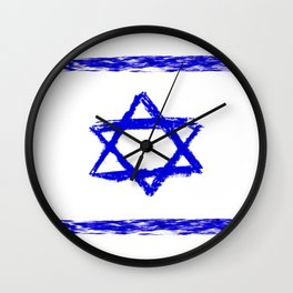 flag of israel 8- יִשְׂרָאֵל ,israeli,Herzl,Jerusalem,Hebrew,Judaism,jew,David,Salomon. Wall Clock