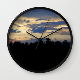 Cloudy Sunrise Forest Silhouette Landscape Wall Clock