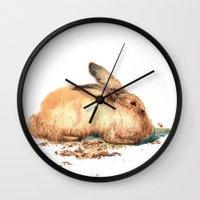bunny Wall Clocks featuring Bunny by Ivanushka Tzepesh