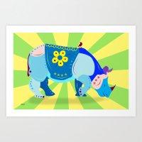 rhino Art Prints featuring Rhino by mark ashkenazi