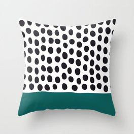 """Elegant Handpainted Polka Dots with """"Shaded Spruce"""", Fall, Autumn Color Throw Pillow"""
