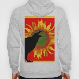 Red & Yellow Sunflower Cawing Crow/Raven Hoody