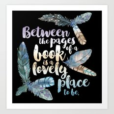 Between The Pages - Feathery Black Art Print