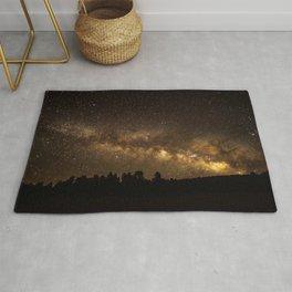Above the Horizon - Milky Way Galaxy Above Treeline in Colorado Rug