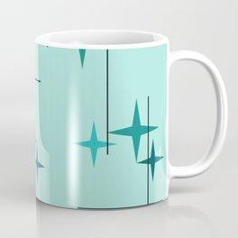 Mid Century Modern Stars Turquoise Coffee Mug