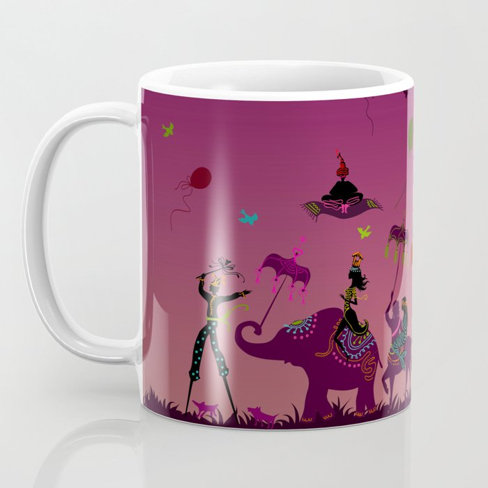 colorful circus carnival traveling in one row at night Coffee Mug
