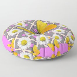 Yellow Butterfly on Lilac-pink Shasta Daisy Grey Pattern Floor Pillow