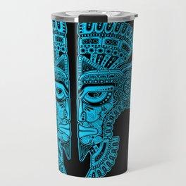 Blue and Black Aztec Twins Mask Illusion Travel Mug