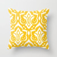 damask Throw Pillows featuring Ikat Damask by Patty Sloniger