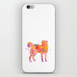 Akbash Dog Watercolor Orange Pink Abstract iPhone Skin
