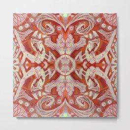 Curves & Lotuses Bohemian Arabesque Rust Copper Vanilla Taupe Metal Print