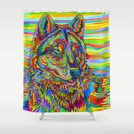 Colorful Psychedelic Rainbow Wolf Shower Curtain