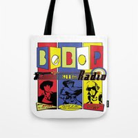 bebop Tote Bags featuring Bebop radio  by whatdavedoes