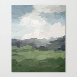 Sky Blue and Forest Green Rural Country Farm Land Nature Abstract Painting Art Print Wall Decor  Canvas Print