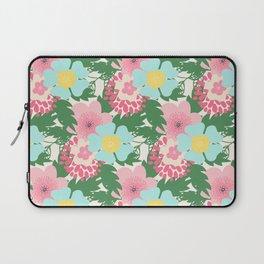 Modern pink teal green botanical tropical floral illustration Laptop Sleeve