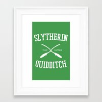 quidditch Framed Art Prints featuring Hogwarts Quidditch Team: Slytherin by IA Apparel