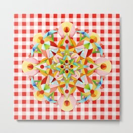 Red Gingham Pastel Mandala Metal Print
