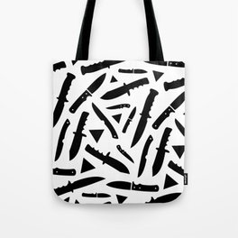 Survival Knives Pattern - Black and White Tote Bag
