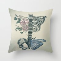 skeleton Throw Pillows featuring Skeleton by ArtSchool