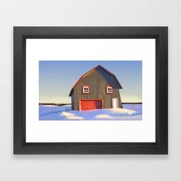 cabin in the snow Framed Art Print
