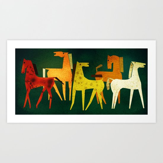 ceramic with horses Art Print