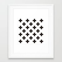 positive Framed Art Prints featuring Positive by Small Comforts