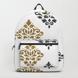 Scroll Damask Art I Gold & Grey on White Backpack