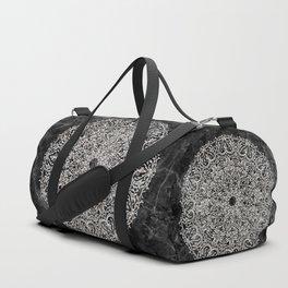 MANDALA ON BLACK MARBLE Duffle Bag