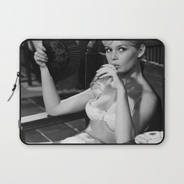 Brigitte Bardot Drinking and Smoking a Cigarette black and white photography / art photograph Laptop Sleeve