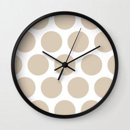 Large Polka Dots: Beige Wall Clock