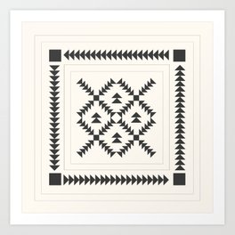 Black and White Quilt Block Art Print