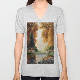 Silver and Gold - Luxuriant Autumn Garden by Thomas Mostyn Unisex V-Neck