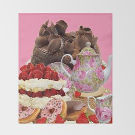 PINK CHOCOLATE & STRAWBERRY TEA TIME Throw Blanket