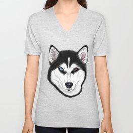 Husky different eyes Unisex V-Neck