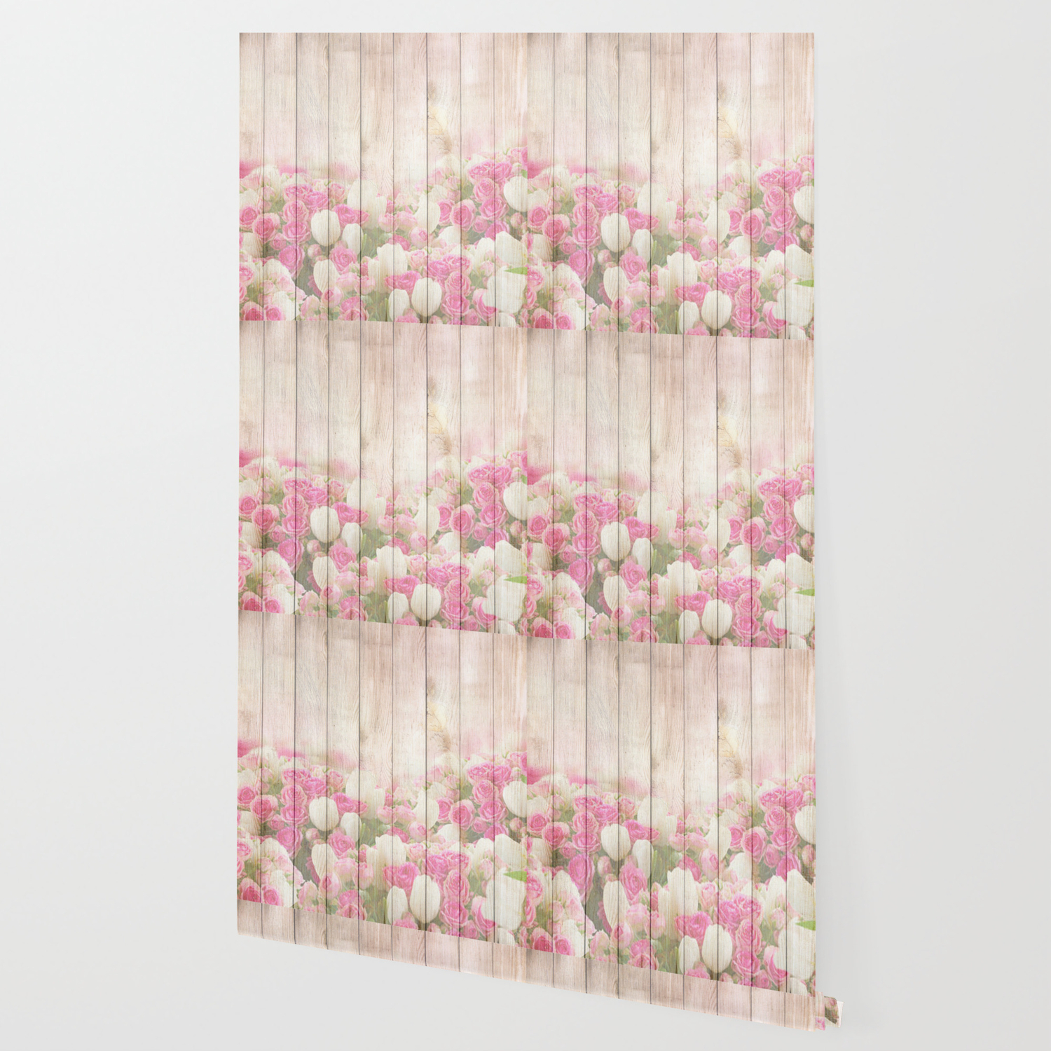Beautiful Pink Tulip Floral Vintage Shabby Chic Wallpaper By