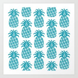Retro Mid Century Modern Pineapple Pattern Turquoise Art Print