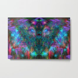 Butterfly Block Face (Cyan) (abstract, psychedelic, visionary) Metal Print