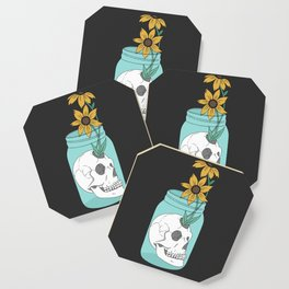 Skull in Jar with Flowers Coaster