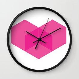 Love heart pink Wall Clock