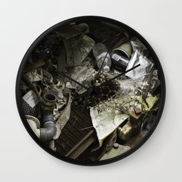 Waste on an abandoned train Wall Clock