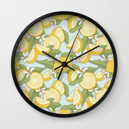Lemons Pattern 01 Wall Clock