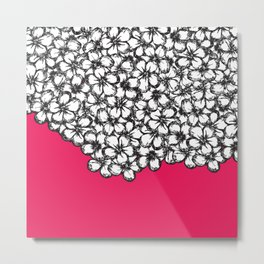 Hand Drawn Black and White Flowers on Hot Pink Metal Print