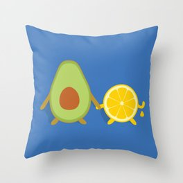 Avocado & Lemon Throw Pillow