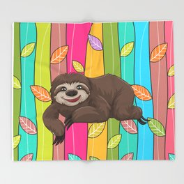 Sweet Sloth Throw Blanket