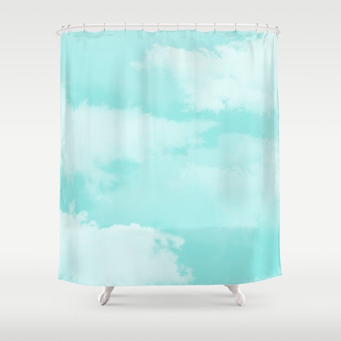 Turquoise White Teal Modern Clouds Pattern Shower Curtain