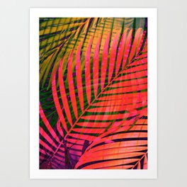 COLORFUL TROPICAL LEAVES no4 Art Print