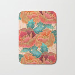 Pink Peonies Pattern with Gold Waves Bath Mat