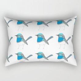 Illustrated Blue Wren with Line Art Rectangular Pillow