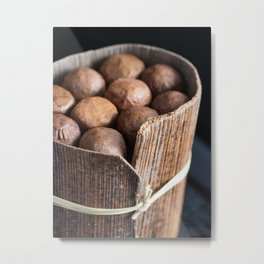Organic Cuban Cigars in Palm Leaf Bundle Metal Print