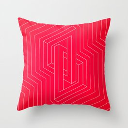 Modern minimal Line Art / Geometric Optical Illusion - Red Version  Throw Pillow